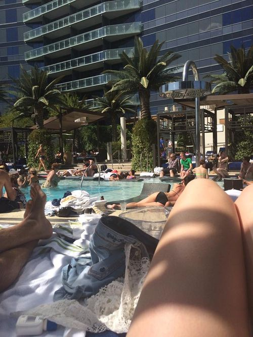 Lounging at the Cosmo Pool
